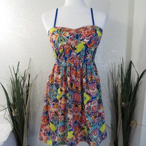 Pinky Floral Tropical Spaghetti Strap Sun Dress